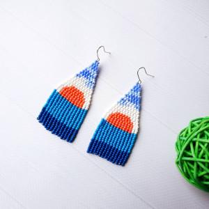 Landscape seed beaded earrings Abstract earrings Blue earrings Sunset earrings Beadwork earrings Boho earrings Fringe earrings