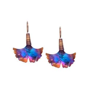 Ginkgo Biloba Earrings - Titanium Earrings - Ginkgo Earrings - Ginkgo Jewelry - Textured Earrings - Statement Earrings