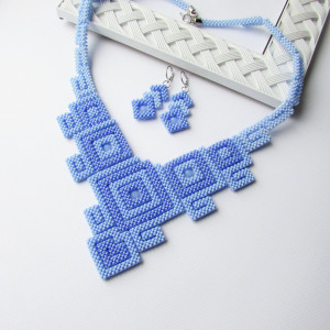Light blue necklace Geometric necklace Blue necklace Seed beads necklace Beadwork beaded necklace Gift for her Handmade necklace Jewelry set
