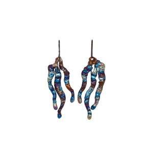 Sea Titanium Earrings - Seaweed Earrings - Sea Statement Earrings - Iridescent Earrings