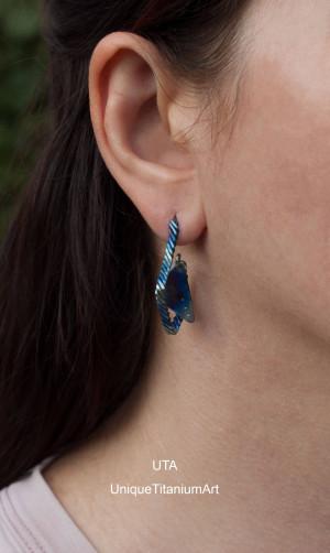 Titanium Earrings Stud Earrings Statement Earrings Triangle Earrings Geometric Earrings Studs Wire Wrapped Jewelry Boho Earrings Dangle Blue