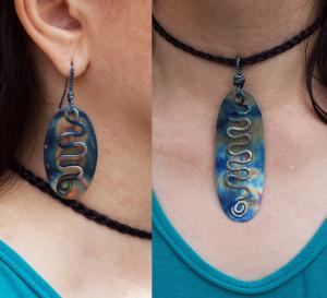 Titanium Earrings Jewelry Set Statement Necklace Statement Earrings Iridescent Necklace Geometric Earrings Blue Earrings Long