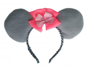 Mouse Ears Grey Customize Pink Bow Birthday Party Gift Halloween Children Adult Toddler Size