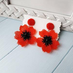 Red poppy earrings Beadwork earrings Red earrings Beads earrings Flower earrings Large earrings Dangle earrings