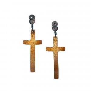 Cross Dangle Titanium Earrings - Hypoallergenic Studs - Christian Earrings - Textured Earrings - Cross Jewelry
