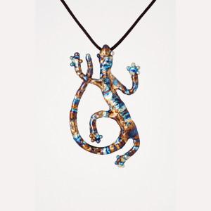 Lizard Necklace - Titanium Pendant - Gecko Pendant - Salamander Necklace - Iridescent Necklace - Welded Art - Witchy Jewelry