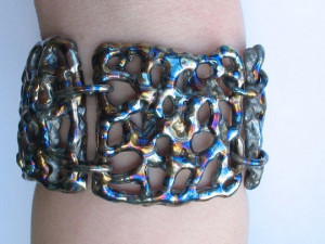 Titanium Bracelet - Statement Bracelet - Weld Art Bracelet - Blue Wide Bracelet