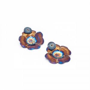 Titanium Earrings Studs - Flower Stud Earrings - Hypoallergenic Studs - Spiral Post Earrings - Stud Boho Earrings - Celestial Jewelry