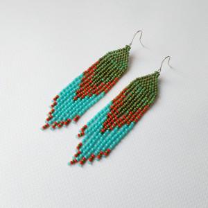 Bead earrings Turquoise earrings handwoven seed bead earrings Fringe earrings Boho earrings Statement earrings Native jewelry