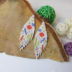 Abstract earrings Sun earrings beaded Summer earrings Sunrise Handwoven seed beads earrings  White earrings Multicolor Boho earrings