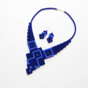 Geometric necklace Blue necklace Seed beads necklace Beadwork beaded necklace Gift for her Handmade necklace Jewelry set