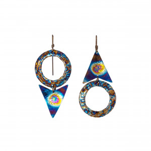 Open Circle Earrings - Wiccan Earrings - Titanium Earrings - Pagan Earrings - Pagan Jewelry - Titanium Hoops - Textured Earrings