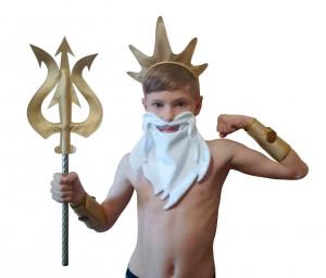 King Triton Poseidon Costume Halloween God Golden Man Bracelet Crown Trident Beard Tiara Fake Leather Adult Child Little Mermaid Inspired