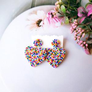 Heart earrings Multicolor beaded earrings Beadwork Large earrings Handwoven seed beads earrings Statements earrings Trending earrings