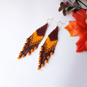 Drop earrings Beadwork earrings Brown orange earrings Beaded earrings Ethnic earrings Seed beads earrings Boho earrings native
