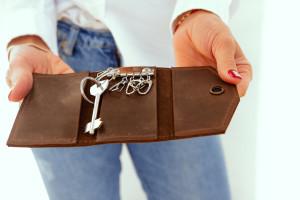 Leather key pouch, Key wallet, Leather keyring,Key holder for 6 keys, key chain ,Leather key fob, Boyfriend anniversary gift