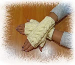 Lace knitted mittens openwork fingerless gloves, knit beige autumn mitts, fashion winter women's accessories, mittens for her gift for mom