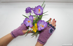 Spring Autumn mittens crochet fingerless gloves with flower, purple lilac green olive floral mitts, women's accessories, winter best trends