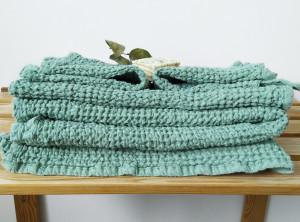 Bathroom absorbent towels, waffle linen set, organic natural towels, green towels set