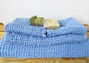 Organic waffle towels, Blue Bath towels set, Linen waffle towels, Face towels, Hand towels, hair, body