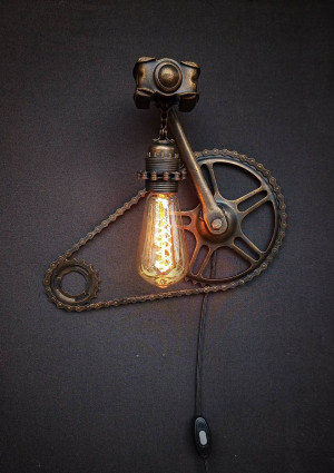 Plug in Wall Sconce Lamp/rustic decor lamp/ Sconce lamp/ bike lamp/ Steampunk lamp/ Unique gift/Bedside lamp/ edison bulb, chain lamp