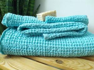 Linen waffle Bath set towels, spring color set, bath, hand and face towels,