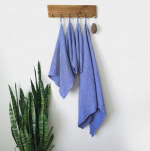 Bath towel set, Linen waffle towels, Organic towels, Blue towel, Bathroom hands towel, face, body