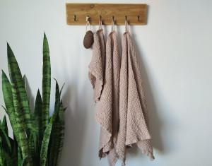 Waffle linen towels set, Bath towel, Face towel, Absorbent towels, Organic towel