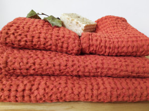 Set towels, Linen waffle towels, Terracot towel for body, hands and face, organic towels