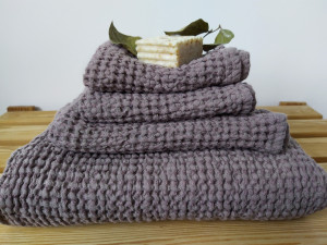 Waffle linen towels set/ Bath towels/ Face/ Hand towels/ Absorbent and organic towels/ Hygge bathroom