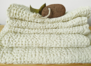 Set organic towels for face, hands, body, Linen and cotton towels fot bathroom, Set soft waffle puffy towels