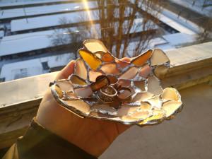 Trinket dish, irregular shaped jewelry/ring dish, sea stained glass art bowl, beach decor