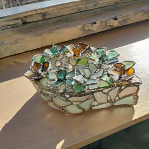 Sea glass flowery jewelry box, big sea stained glass trinket box