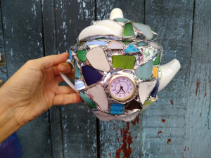 Jewerly box night light Tea time, crazy teapot, sea stained glass, recycled art