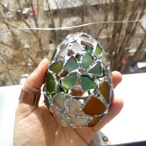 May NOT arrive before Easter! Easter egg jewelry box, flower sea stained glass OOAK ring box, dragon egg, collectable
