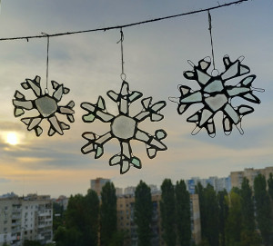 Set of 3 sea glass snowflakes - Christmas tree/home decor window hanging, suncatchers, stained sea glass art
