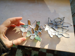 Sea glass maple leaf ring dish, mosaic upcycled art, sea stained glass