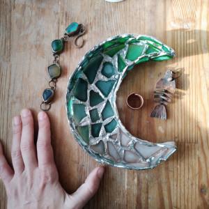 Seaglass crescent jewelry dish, sea stained glass half moon home decor, DIY night light, suncatcher, wall hanging