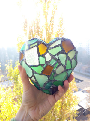 Heart shaped jewelry box, sea stained glass romantic valentines gift, beach glass mosaic