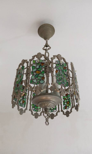 Stained sea glass chandelier, Tiffany style beach glass lamp, ceiling pendant light, rustic interior art