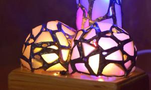 Mature touch-sensitive erotic art penis light, sea stained glass adult love fetish gift, boudoir lamp
