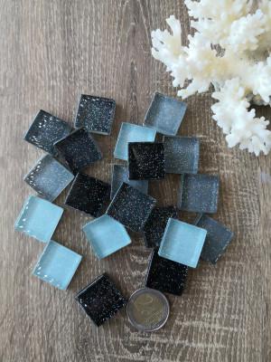 20 mix black gray Glass Mosaic Tiles, glass mosaic mix black gray color, unique mosaic of hot glass, diy home decor, diy mosaic decor