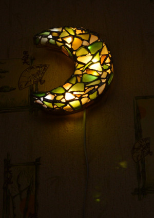 "Sea stained glass romantic USB LED night light sconce ""Half moon"", crescent kids night lamp gift idea"