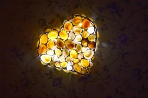 "Sea shell USB LED night light sconce ""Heart"", night lamp gift idea"