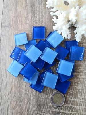 25 mix blue Glass Mosaic Tiles, blue glass mosaic aqua color, unique blue mosaic of hot glass, diy blue aqua home decor, diy mosaic decor