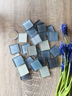 25 mix gray Glass Mosaic Tiles and siver glitter, glass mosaic gradient gray color, unique mosaic hot glass, diy homedecor, diy mosaic decor