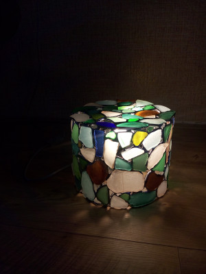 Big sea glass light, floor or table Tiffany style stained glass lamp with big chunks of beach glass