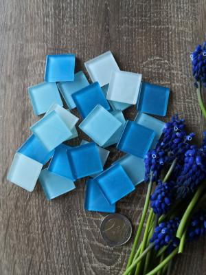 25 mix blue aqua Glass Mosaic Tiles, blue glass mosaic aqua color, unique mosaic of hot glass, diy blue aqua home decor, diy mosaic decor