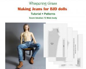 Digital PDF Tutorial + Pattern: Making Jeans for Soom Idealian 72 male BJD doll