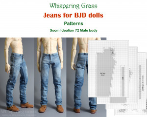 Digital PDF Pattern: Jeans for Soom Idealian male BJD doll